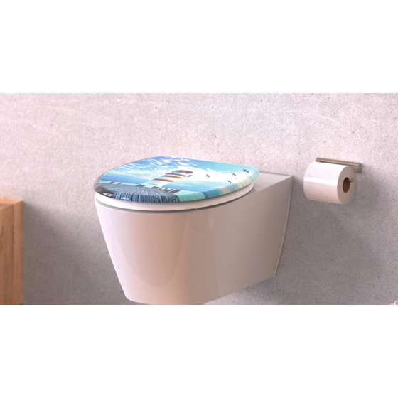 Schütte Duroplast WC-Sitz LIGHTHOUSE Absenkautomatik 82149 Toilettensitz WC