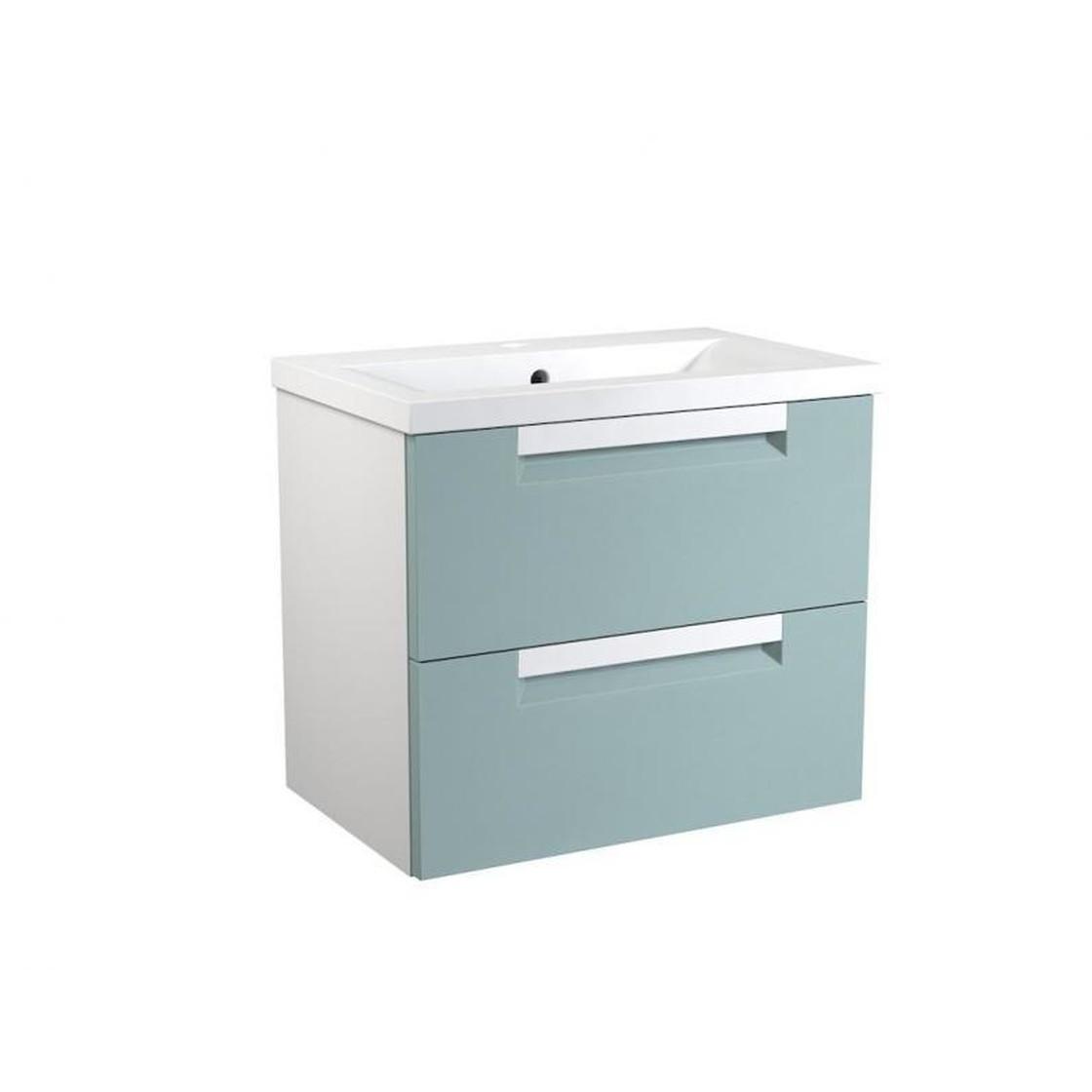 VidaMar Milano Waschtischunterschrank mit 2 Schubladen, Waschtisch,  weiß/aquamarin, 60 cm