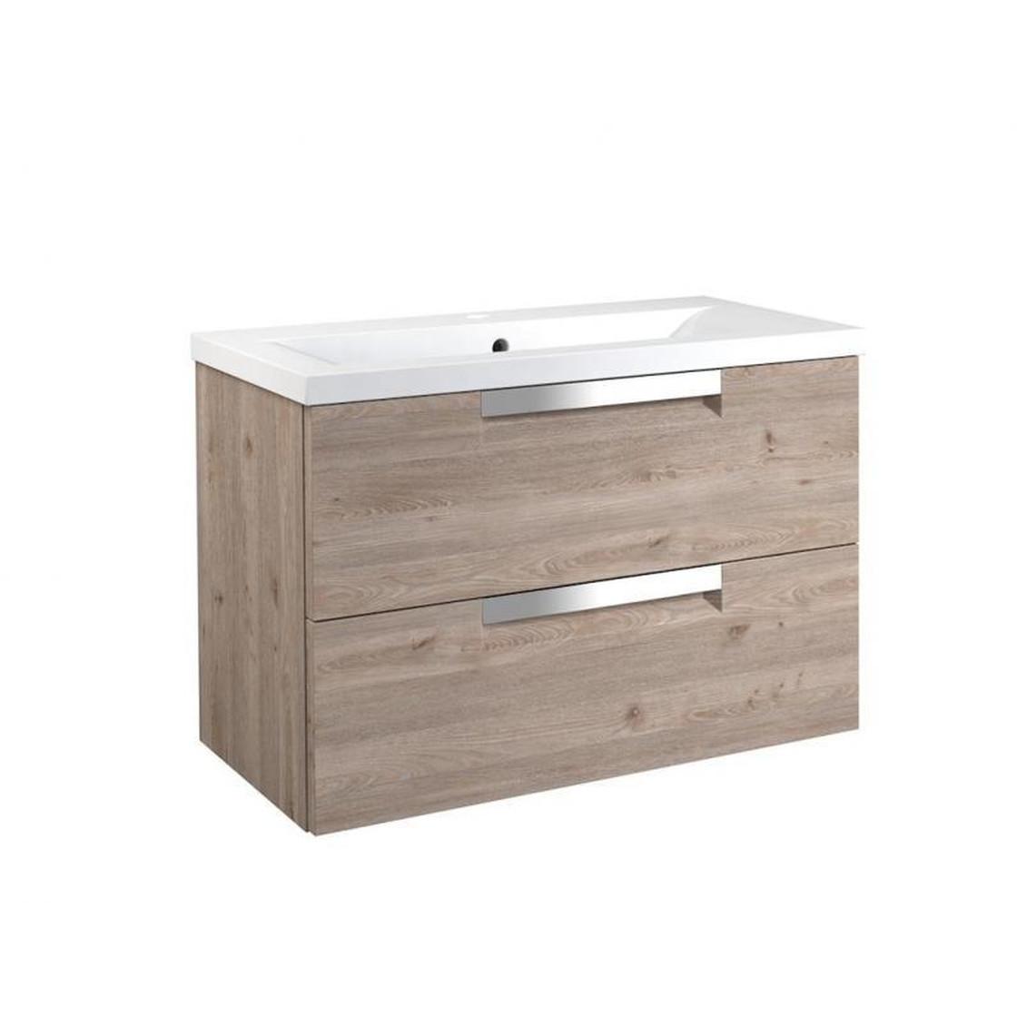VidaMar Milano Waschtischunterschrank mit 2 Schubladen, Waschtisch, Nelson  Eiche, 80 cm