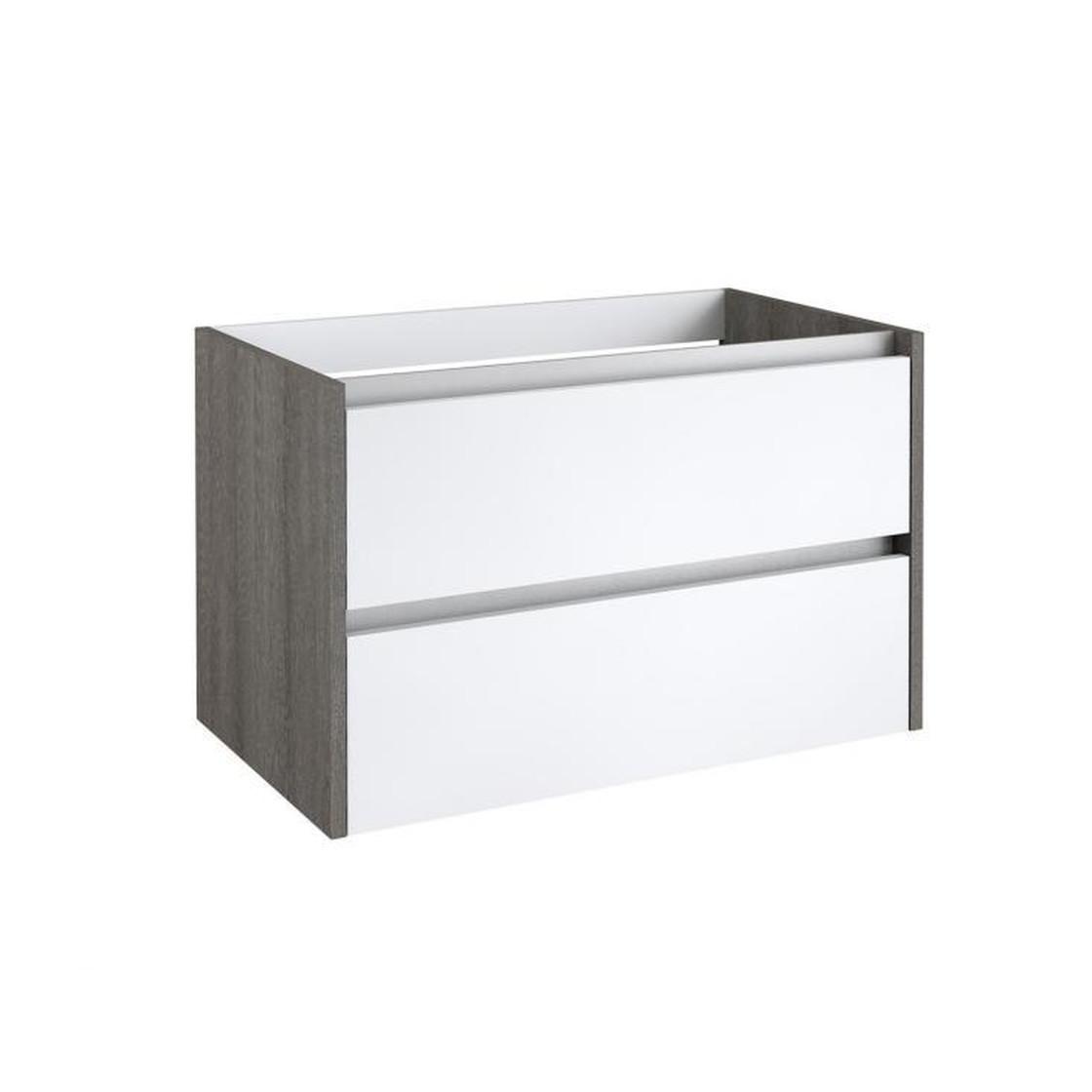 Waschtischunterschrank Schubladen Weiss Glanzend Esche Grau 80 Cm