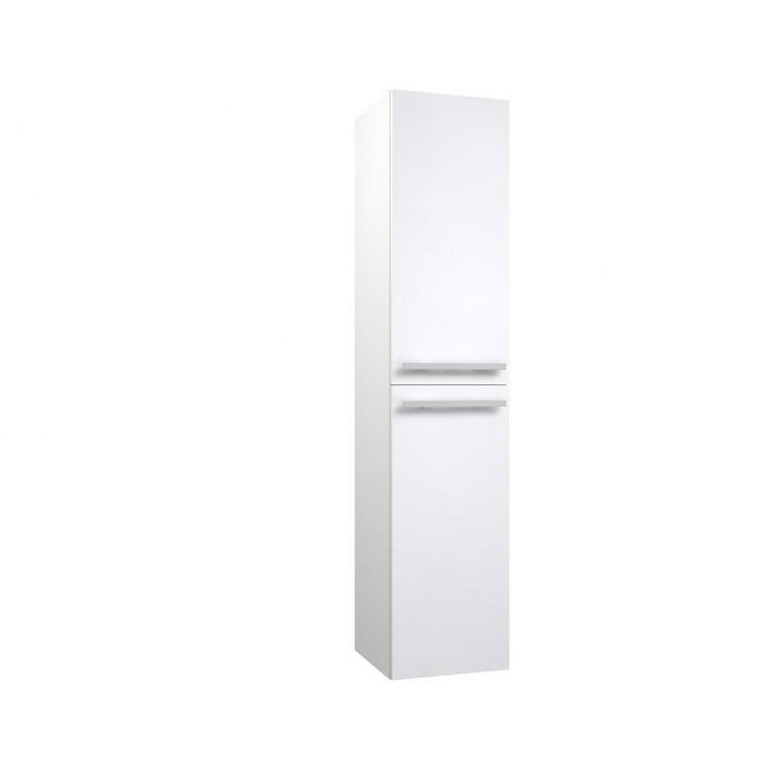 VidaMar Serena Hochschrank Badezimmer 2 Türen Wäschekorb weiß glänzend 35 cm