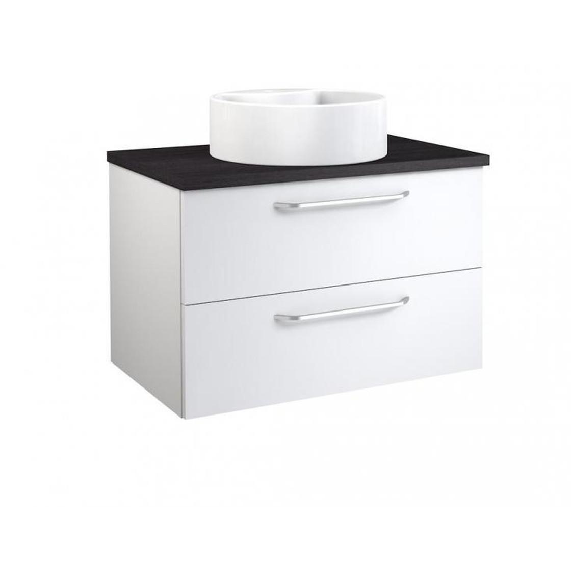 Vidamar Luna Waschtischunterschrank Waschbecken rd 2 Schubladen Eiche  schwarz 75 cm