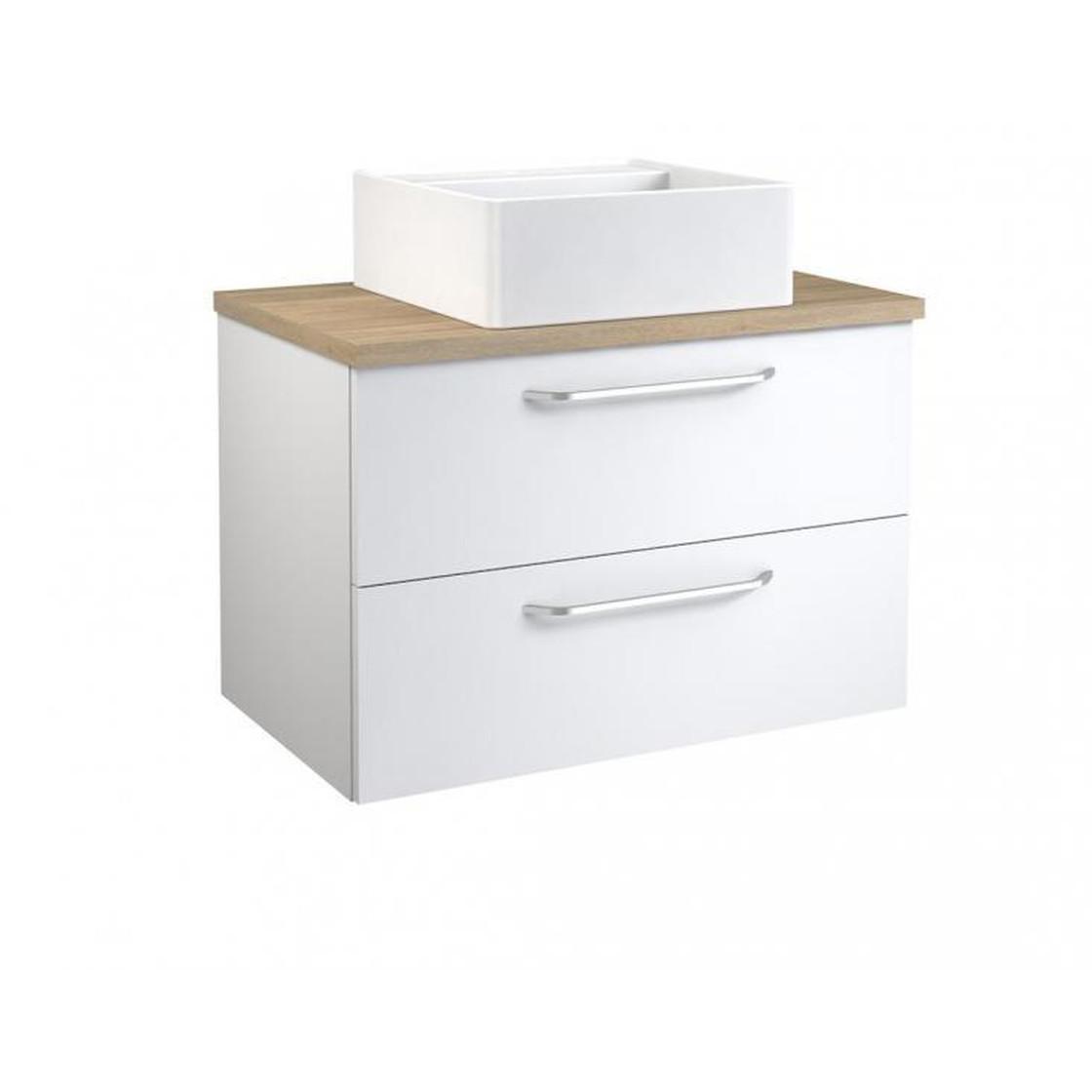 Vidamar Luna Waschtischunterschrank Waschbecken eckig 2 Schubladen, /Eiche  grau, 75 cm