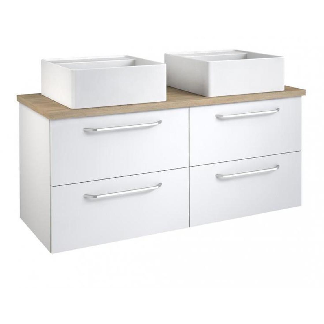 Vidamar Luna Waschtischunterschrank 2 Waschbecken eckig 4 Schubladen Eiche  grau 120